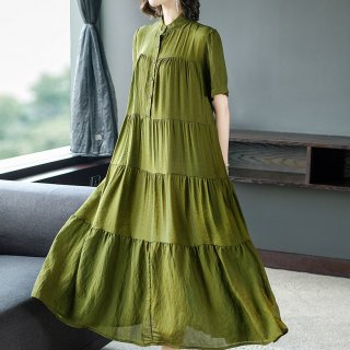 トレンドのティアードデザインで大人かわいいロングシャツワンピース 2色