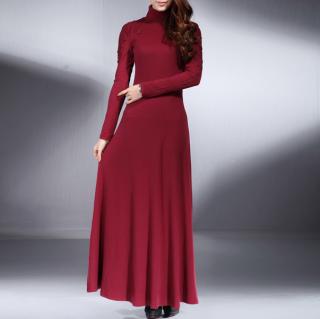 フォーマルやお呼ばれに 長袖の刺繍がエレガントなタートルネックのマキシワンピース 3色