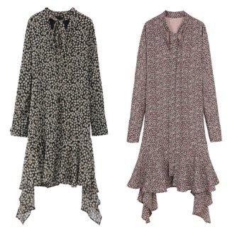 アシメ裾が個性的でかわいいフラワープリントの長袖フレアワンピース 2色