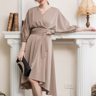 結婚式や二次会に マーメイドスカートが大人かわいいウエストリボンのゆったりワンピース 3色
