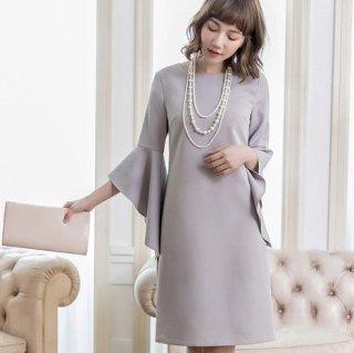 お呼ばれドレスに ボリューミーなフリルスリーブがおしゃれなゆったりミディアムワンピース 3色
