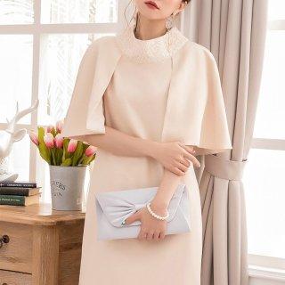 お呼ばれドレスに レースのスタンドカラーが上品かわいいケープ風きれいめワンピース 4色