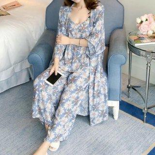出産準備や産後にも ボタニカル柄がかわいい3点セットのおしゃれパジャマ 2色