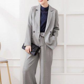 オフィスカジュアルやフォーマルにも ワイドシルエットがおしゃれなジャケットとパンツのセットアップ 2色