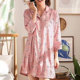 妊娠後期にもおすすめ 個性的でかわいいキャット柄のワンピース前開きパジャマ