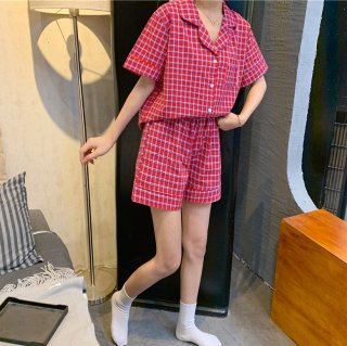 産後にもおすすめ キュートなチェック柄の半袖シャツとショートパンツのセパレート前開きパジャマ 4色