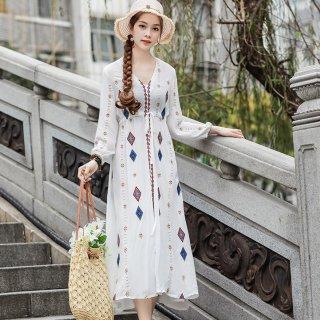 おしゃれな海外デザイン ボヘミアンテイストの長袖マキシ丈ワンピース 3色