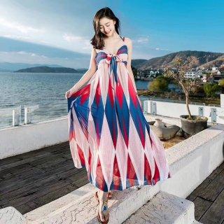 マタニティドレスにも カラフルでおしゃれなボヘミアンテイストのマキシワンピース 2色