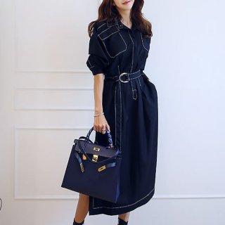 おしゃれな海外デザイン ビックポケットがかわいいきれいめカジュアルなロングワンピース 2色