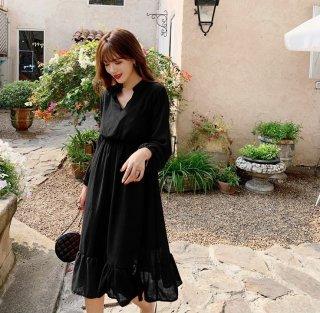人気の海外デザイン 大人かわいいふんわりシルエットの長袖シャツワンピース 3色