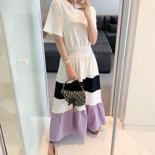 マルチカラーがかわいい海外デザイン フレアスカートの半袖Tシャツロングワンピース 2色