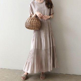 人気の海外デザイン たっぷりギャザーで大人かわいい半袖きれいめロングワンピース 2色