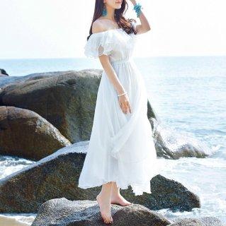 マタニティフォトにも 大人ガーリーなWフリルのマキシ丈オフショル白ワンピース ドレス