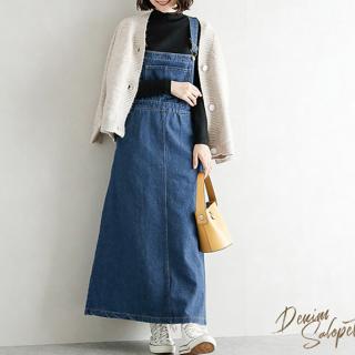 定番かわいいおしゃれアイテム ゆったりロングのオーバーオールスカート 2色