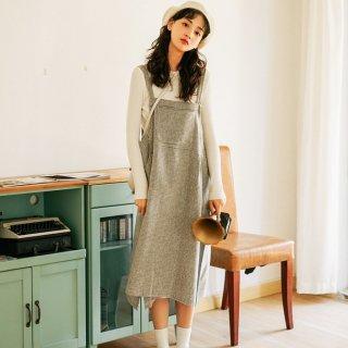 オールシーズン使えるデザイン 定番かわいいチェック柄のサロペットスカート 2色