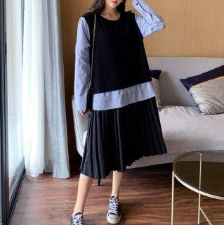 個性的でかわいい海外デザイン レイヤード風長袖プリーツワンピース