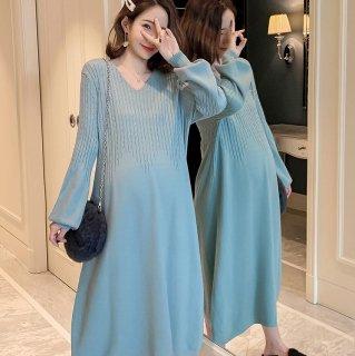 人気の海外デザイン バルーン袖がかわいいゆったりニットのミディアムワンピース 4色
