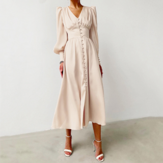 結婚式や二次会にもおすすめ エレガントなバルーンスリーブのロングワンピース ドレス 4色
