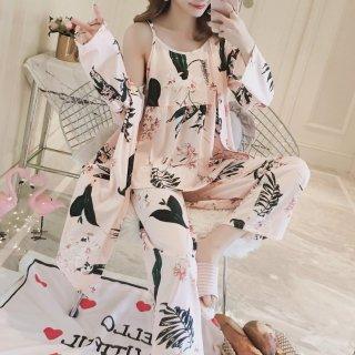 人気の海外デザイン ボタニカル柄のガウン付きセパレートパジャマ ルームウェア 3色
