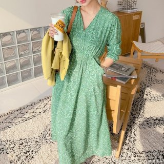 妊娠後期でも安心 ふんわりギャザーのマキシ丈長袖ゆったりワンピース 3色