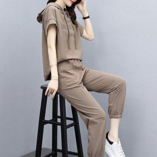 春夏のルームウェアにもおすすめ 半袖パーカートップスとボトムスのパンツセットアップ 3色