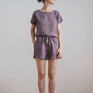 春夏のルームウェアに活躍 シンプルかわいい半袖トップスとショートパンツのセットアイテム 3色