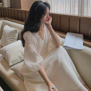 上品かわいいお呼ばれスタイル ふんわりシフォンのバルーン袖のカシュクールロングドレス ワンピース 2色