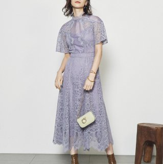 人気のお呼ばれドレス スタンドカラーがかわいいレースとシフォンの上品ロングワンピース 3色