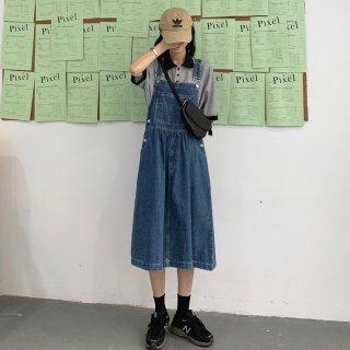 人気の海外デザイン カジュアルかわいいフレアシルエットのデニムサロペットスカート オーバーオール