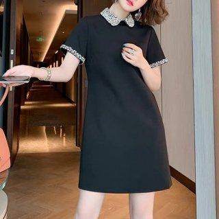 XS〜4Lの豊富なサイズ展開 お呼ばれにも使える襟付き半袖ミニワンピース 2色