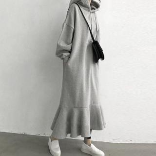 ルームウェアからお出かけまで カジュアルかわいい裾フリルのロング丈パーカーワンピース 2色