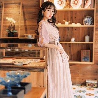 個性的でおしゃれな海外デザイン 上品フェミニンなギャザーやリボンのロングワンピース ドレス 2色