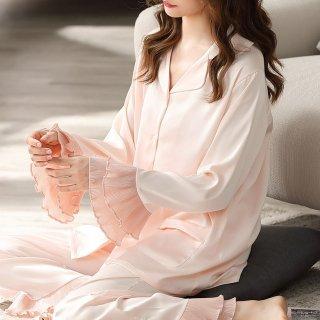 出産準備にもおすすめ 上品かわいいティアードフリルの長袖前開きトップスのセパレートパジャマ 2色
