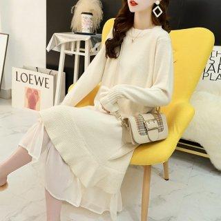 豊富な4色展開 きれいめカジュアルな裾フリルのロング丈長袖ゆったりニットワンピース