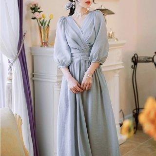 結婚式や二次会に 上品かわいいバルーンスリーブのロング丈カシュクールドレス