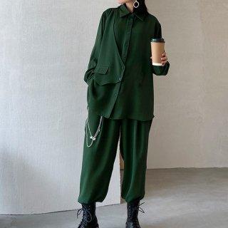 個性的でおしゃれな海外デザイン ゆったりアシメシャツとロング丈ボトムスのセットアイテム