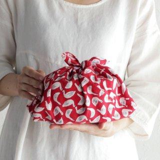 SUVALNA あづま袋(東袋)Sサイズ 木版染め(ブロックプリント) スワン×レッド