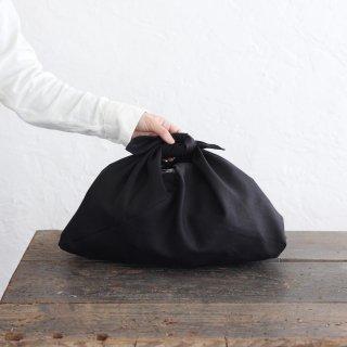 alinのあづま袋 M 50cm かごバッグに リネンあずま袋 マチ付き (ブラック)