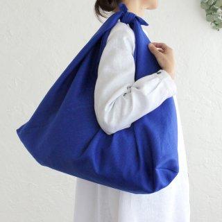 alinのあづま袋 Lサイズ 64cm 大きいショルダーバッグサイズ リネンあずま袋 マチ付き (ロイヤルブルー)