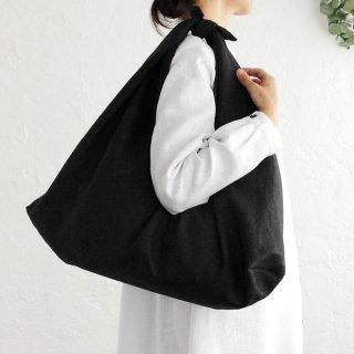 alinのあづま袋 Lサイズ 64cm 大きいショルダーバッグサイズ リネンあずま袋 マチ付き (ブラック)