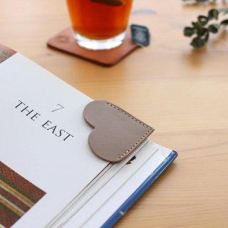 本牛革 オイルレザー ハートのブックマーク 栞(パープルグレー)