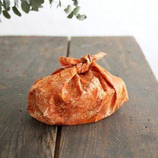alinのあづま袋 S お弁当包み バティックあずま袋 マチ付き (花/オレンジ)