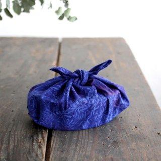 alinのあづま袋 S お弁当包み バティックあずま袋 マチ付き (水草/ネイビー)