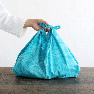 alinのあづま袋 M 50cm かごバッグに バティックあずま袋 マチ付き (珊瑚/ブルー)