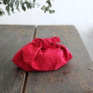 alinのあづま袋 S お弁当包み バティックあずま袋 マチ付き (雨縞/レッド)