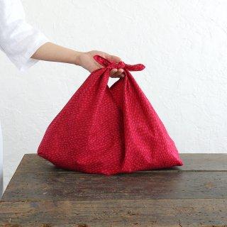 alinのあづま袋 M 50cm かごバッグに バティックあずま袋 マチ付き (雨縞/レッド)