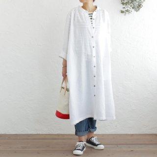 リネン シャツワンピース 前開きギャザー 2way羽織り (ホワイト)