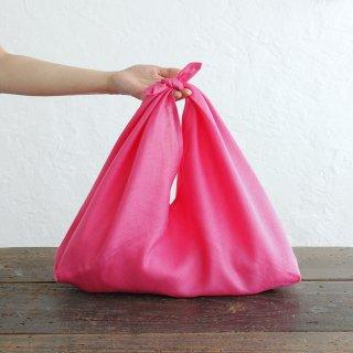 alinのあづま袋 M 50cm かごバッグに リネンあずま袋 マチ付き (ローズピンク)