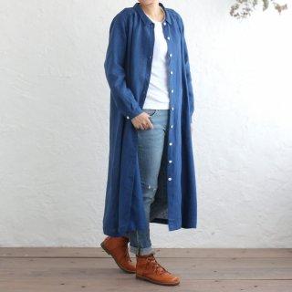 リネン シャツワンピース 前開きギャザー 2way羽織り (クラシックブルー)