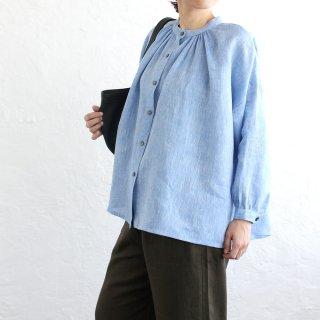 リネン ふんわり羽織りギャザーブラウス (ブルー)